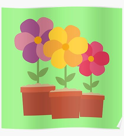 Three colorful Flowers Ro728 Poster