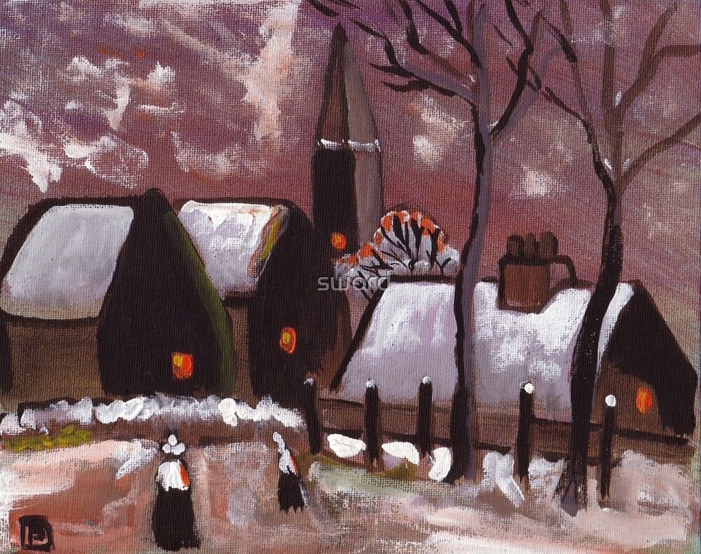 Breton village snowscene (from my original acrylic painting) by sword