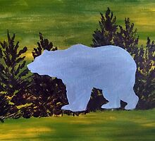 Bear Silhouette in the Woods by JodiErin
