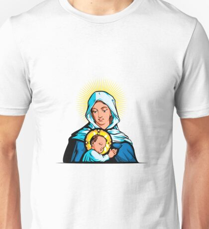 Mother Mary with Jesus Christ Unisex T-Shirt