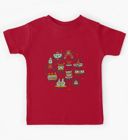 Funny robots-aliens in the circle. Kids Tee