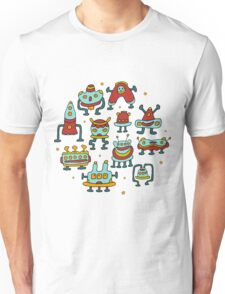 Funny robots-aliens in the circle. Unisex T-Shirt