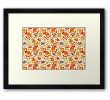 RED cat BLUE bird pattern. Framed Print