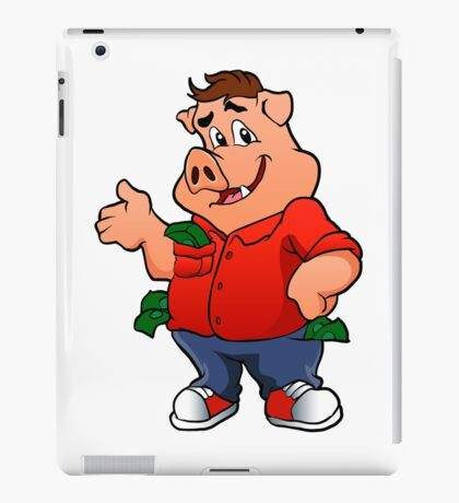 pig character with money iPad Case/Skin