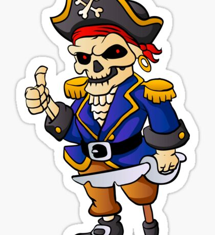 pirate skeleton cartoon. Sticker