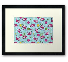 Christmas Kitties Pattern and another Spasial CAT with the Christmas tree. Framed Print