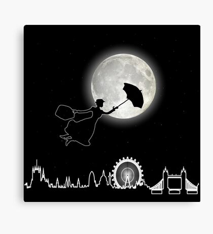 Magical Nanny Over London - neon light Canvas Print