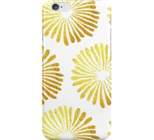 gold daisies pattern on White background  iPhone Case/Skin