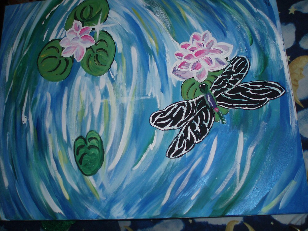 fire fly on the pond (hand painted) by lisaart82579
