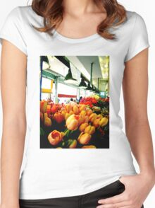 Sunday Morning Tulips Women's Fitted Scoop T-Shirt