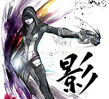 Kasumi from Mass Effect sumi and watercolor style by Mycks