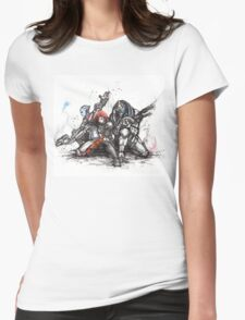 Shepard, Garrus and Liara trio sumi and watercolor style Womens Fitted T-Shirt