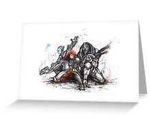 Shepard, Garrus and Liara trio sumi and watercolor style Greeting Card