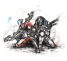 Shepard, Garrus and Liara trio sumi and watercolor style Photographic Print