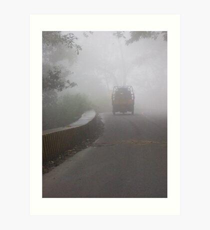 truck in the mist Art Print