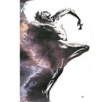 Shadowtwister dancer  - textured conté drawing Photographic Print