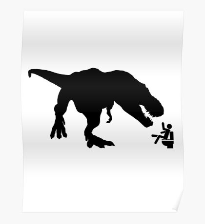 Jurassic Park T-rex Eats Man on Toilet Funny Poster