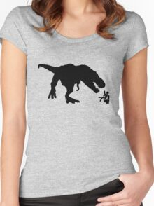 Jurassic Park T-rex Eats Man on Toilet Funny Women's Fitted Scoop T-Shirt