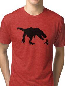 Jurassic Park T-rex Eats Man on Toilet Funny Tri-blend T-Shirt