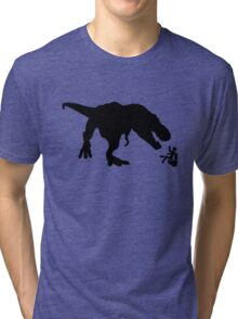 Jurassic Park T-rex Eats Man on Toilet Funny Tri-blend T-Shirt