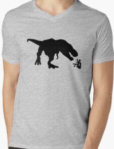 Jurassic Park T-rex Eats Man on Toilet Funny Mens V-Neck T-Shirt