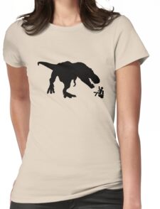 Jurassic Park T-rex Eats Man on Toilet Funny Womens Fitted T-Shirt