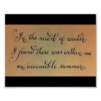 Invincible summer quote calligraphy by Melissa Goza