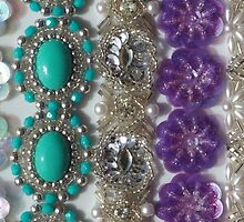 Vintage Bling, Silver, Turquoise, Pearl and Purple by MHen