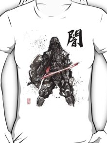 Samurai Darth Vader sumi ink and watercolor T-Shirt