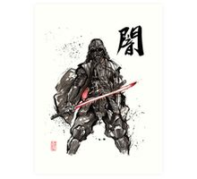 Samurai Darth Vader sumi ink and watercolor Art Print