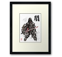 Samurai Darth Vader sumi ink and watercolor Framed Print