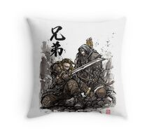 Kili and Fili from the Hobbit sumi ink and watercolor Throw Pillow