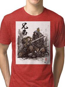 Kili and Fili from the Hobbit sumi ink and watercolor Tri-blend T-Shirt