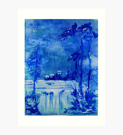 Midnight Snow Art Print