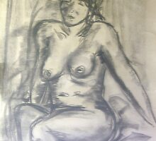 Seated nude by Raymond  Hedley