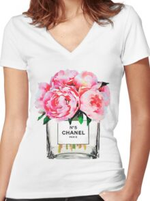 FLOWERS #Peony Women's Fitted V-Neck T-Shirt