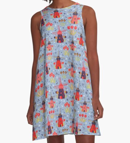 Janie's Windmills  A-Line Dress