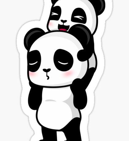 Piggy Back Pandas Sticker