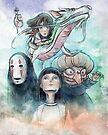 Spirited Away Miyazaki Tribute Watercolor Painting by barrettbiggers