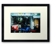 Red box blue motorcycle Framed Print
