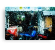 Red box blue motorcycle Canvas Print