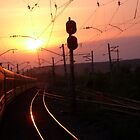Sunset from the train by Ruth  Kennedy