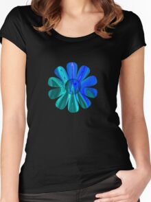 Blue Abstract Flower Women's Fitted Scoop T-Shirt