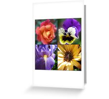 Rose, Pansy, Iris and Daisy Collage Greeting Card