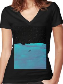Pluto  Women's Fitted V-Neck T-Shirt