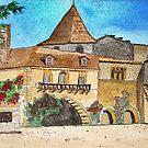 Watercolour.                            Paysages de Dordogne  France  by Irene  Burdell