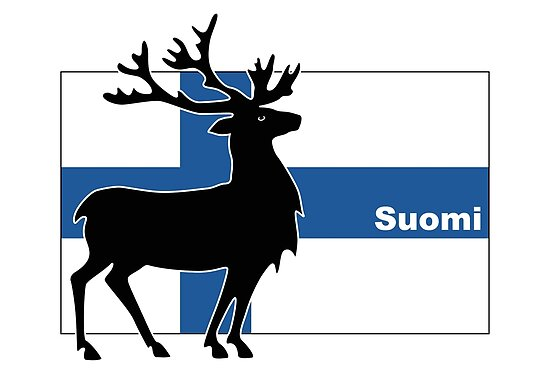 Suomi: Finnish Flag and Reindeer by Anny Arden