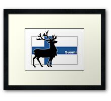 Suomi: Finnish Flag and Reindeer Framed Print