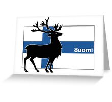 Suomi: Finnish Flag and Reindeer Greeting Card