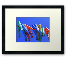 Primary Pegs Framed Print